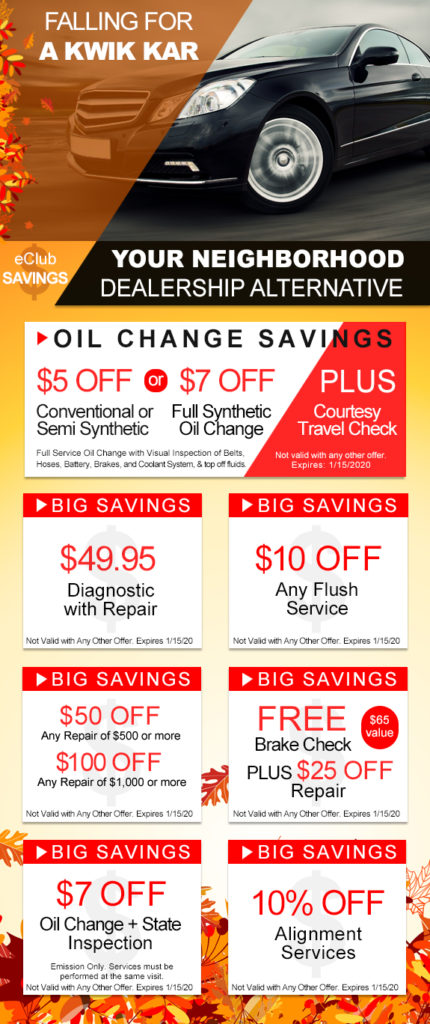 Kwik Kar Marsh coupons save money using oil change coupons and auto repair coupons at Kwik Kar.